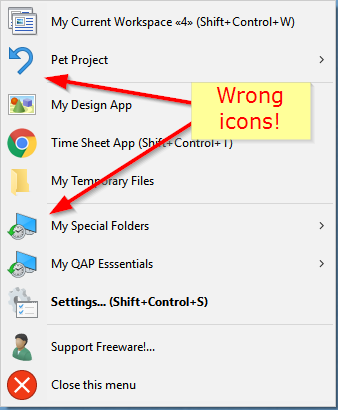 Wrong icons imported from Windows 7 under Windows 10