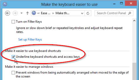 Underline keyboard shortcuts