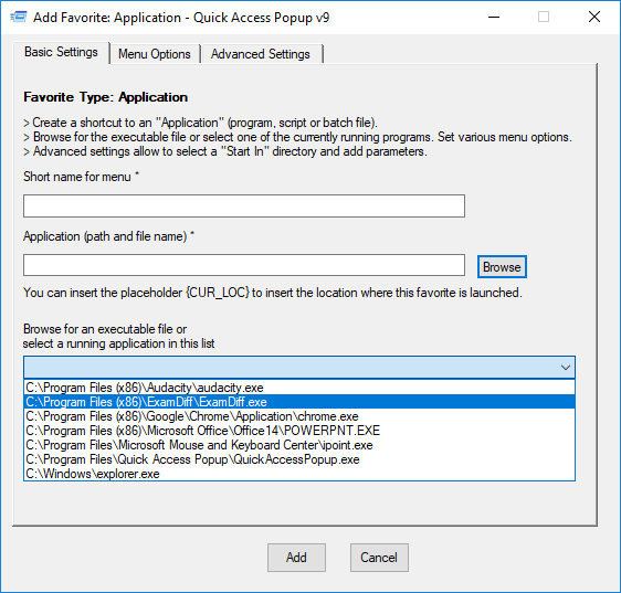 Applications type – Quick Access Popup