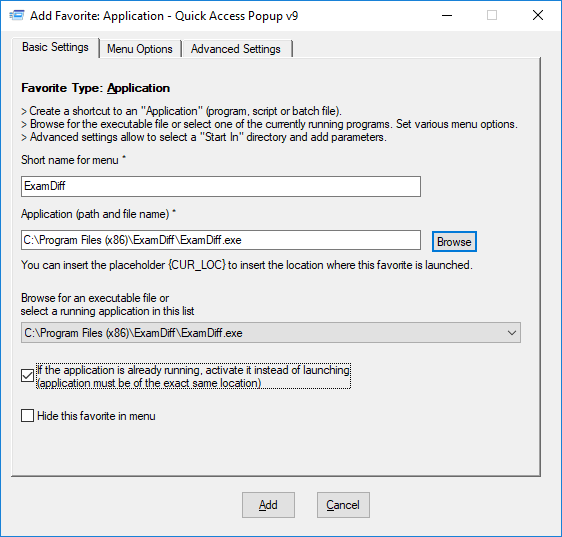 How do I add an application or script to my menu? – Quick