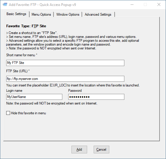 FTP – Quick Access Popup