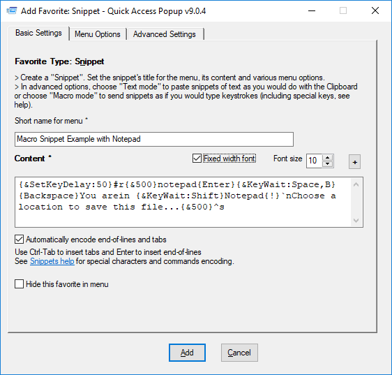 6) Automating your work – Quick Access Popup