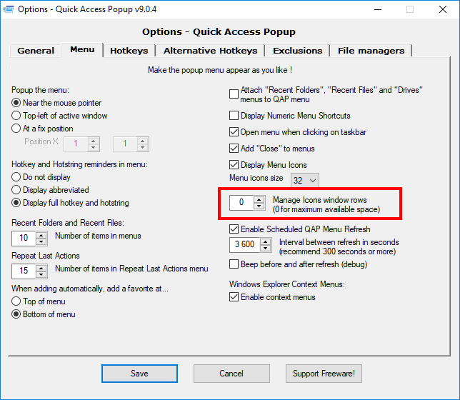 B) Issues – Quick Access Popup