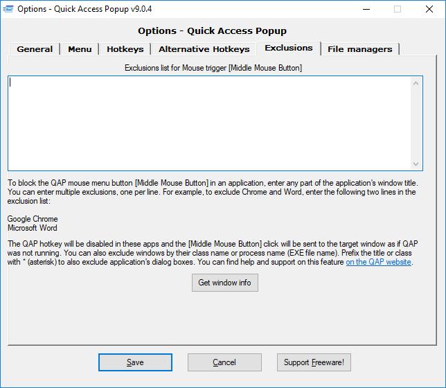 Options – Quick Access Popup